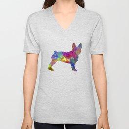 Boston Terrier 01 in watercolor Unisex V-Neck