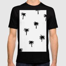 Palm tree pattern Black Mens Fitted Tee MEDIUM
