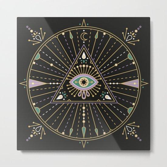 Evil Eye Mandala – Black Metal Print