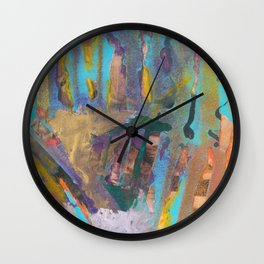 Abstract Landscape Colorful Mixed Media Painting by Garden Of Delights Wall Clock