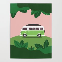 van in forest Poster