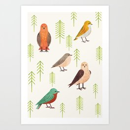 Birds & Forest Art Print
