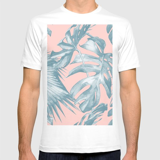 Tropical leaves ocean blue on coral pink t shirt by simple for Ocean blue t shirt