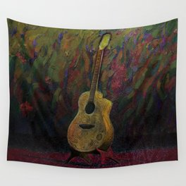 Guitar in Stand Wall Tapestry