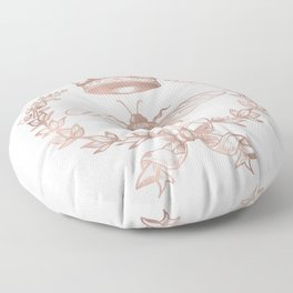 Queen Bee in Rose Gold Pink Floor Pillow