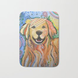 Max ... Abstract dog art, Golden Retriever, Original animal painting Bath Mat
