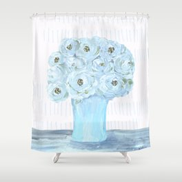 Boho still life flowers in vase Shower Curtain