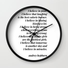 Audrey Hepburn quote Wall Clock
