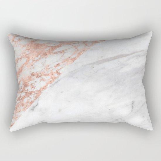 Massarosa Marchionne Bianco rose gold marble Rectangular Pillow