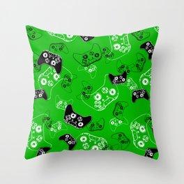 Video Game Green Throw Pillow