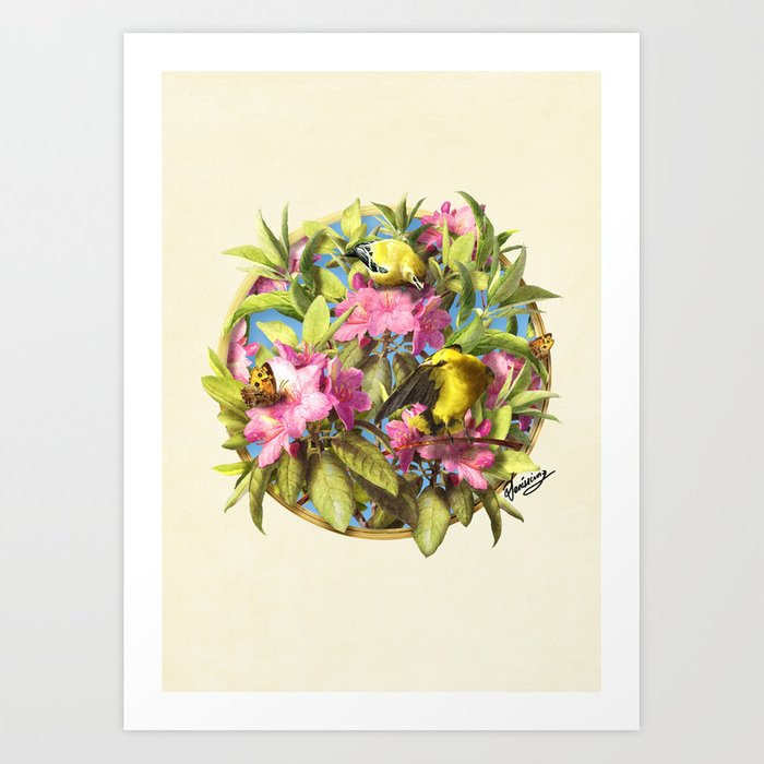 Flowers and Birds 1 Art Print