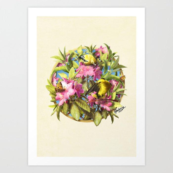 Flowers and Birds 1 Art Print