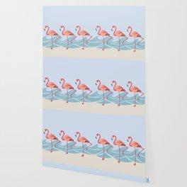 Seaside Flamingos Wallpaper