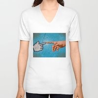 technology V-neck T-shirts featuring Creation Of Technology by Tree Top Taxi