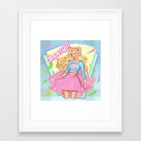 supergirl Framed Art Prints featuring SUPERGIRL by OSKAR V.