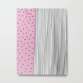 Dots & Stripes in pink Metal Print