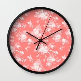 Vintage elegant coral white bohemian floral Wall Clock