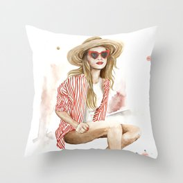 Summer fashion woman in straw hat watercolor painting Throw Pillow