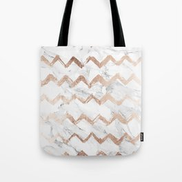 Chic faux rose gold chevron white marble pattern Tote Bag