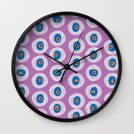 Evil Eye Charm - Radiant Orchid  Wall Clock