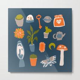Minimalist Teenage Bedroom Blue Flash Sheet Metal Print
