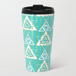 Geometric Pattern Metal Travel Mug