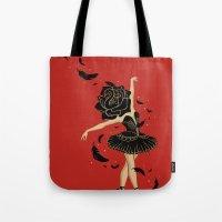 black swan Tote Bags featuring Black Swan by Enkel Dika