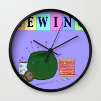 sewing Wall Clocks featuring Sewing by Grace Isabel