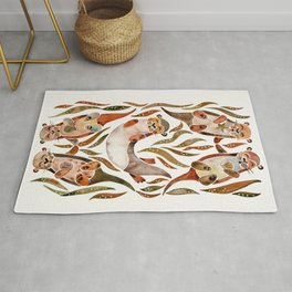 Five Otters – Sepia Palette Rug