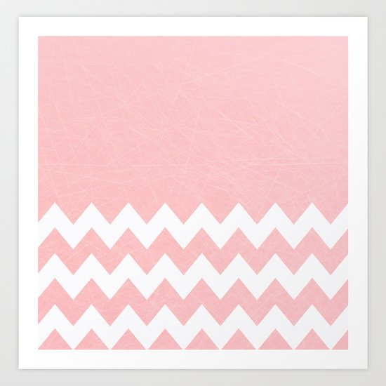 Pink Half Chevron Pattern Art Print