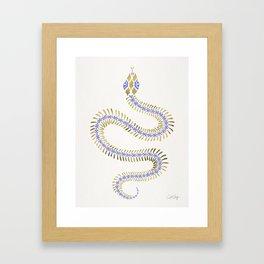 Snake Skeleton – Periwinkle & Gold Framed Art Print