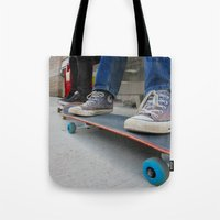 skateboard Tote Bags featuring Skateboard by Mechanical Kayla