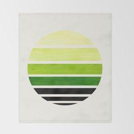 Sap Green Mid Century Modern Minimalist Circle Round Photo Staggered Sunset Geometric Stripe Design Throw Blanket