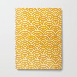 Japanese Seigaiha Wave – Marigold Palette Metal Print