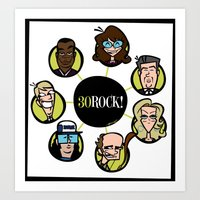 30 rock Art Prints featuring 30 Rock by Miguel Roselló