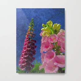 Two Foxglove flowers with textured background Metal Print