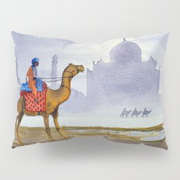 Camel Riders Alongside The Taj Mahal By Moonlight Pillow Sham