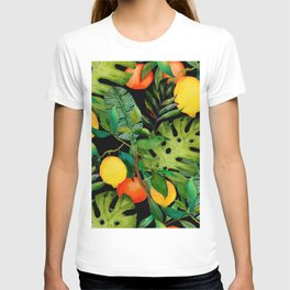 Watercolor seamless pattern with tropical leaves and citrus fruits. Fashion botanical print.  T-shirt