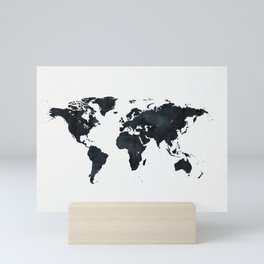 World Map in Black and White Ink on Paper Mini Art Print