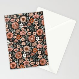 70s flowers - 70s, retro, spring, floral, florals, floral pattern, retro flowers, boho, hippie, earthy, muted Stationery Cards