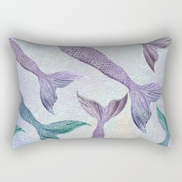 Amethyst and Teal Mermaid Tails Rectangular Pillow