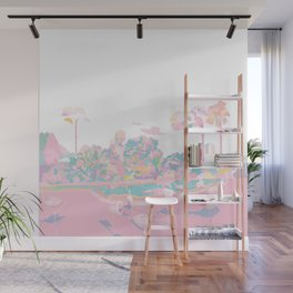 One broiling August day with Flamingos Wall Mural