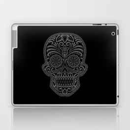 Intricate Gray and Black Day of the Dead Sugar Skull Laptop & iPad Skin