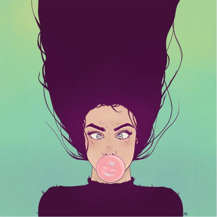 Bubble Gum Lady Duvet Cover