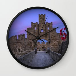 The fortress wall  Rhodes, Greece Wall Clock