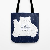 snorlax Tote Bags featuring House Snorlax by Alecxps