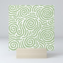Ripple Effect Pattern Sage Green Mini Art Print