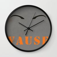 alex vause Wall Clocks featuring Vause by AshleighGrice