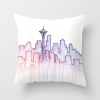 seattle Throw Pillows featuring Seattle by Olechka
