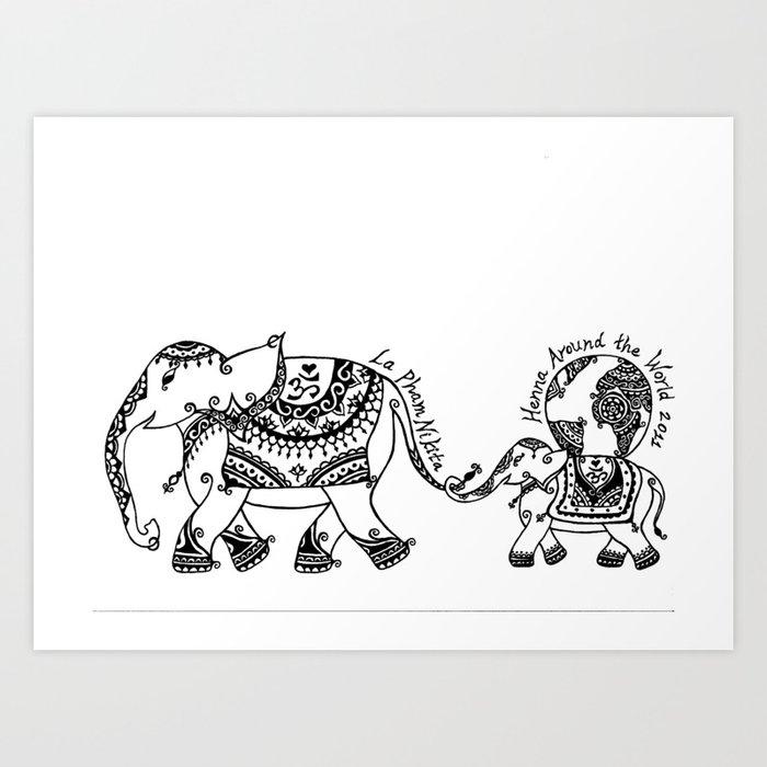Henna Elephant Art Print By Laphamnikita Society6